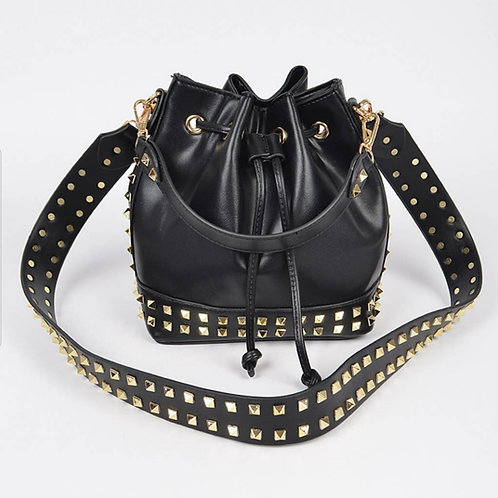 Hello 3 AM  Gold Studded Bucket Bag