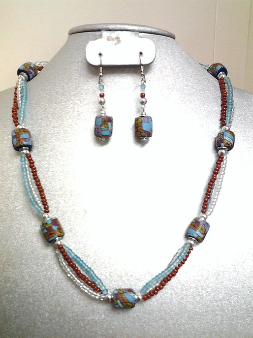 """Fimo and Sea Bead Necklace & Earring Set 24"""""""