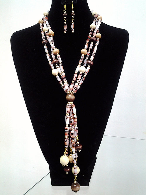 Czech and Wood Beaded Necklace & Earring Set 22""