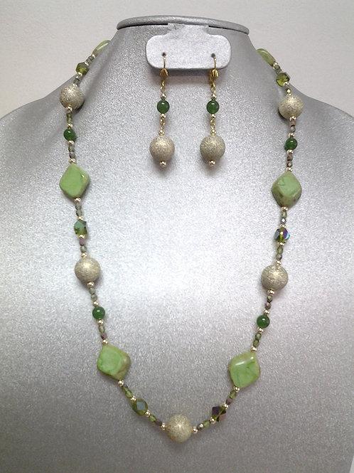 "Emerald, Glass & Matte Gold Bead Necklace Set  28"""