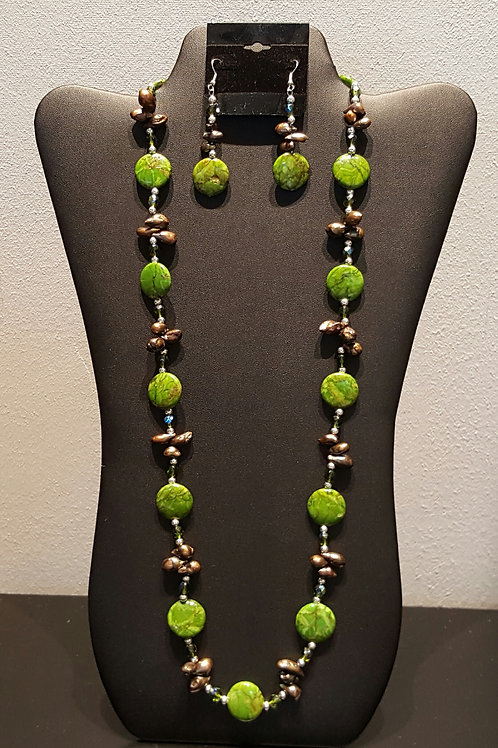Green Turquoise and Chocolate Pearl Necklace Set