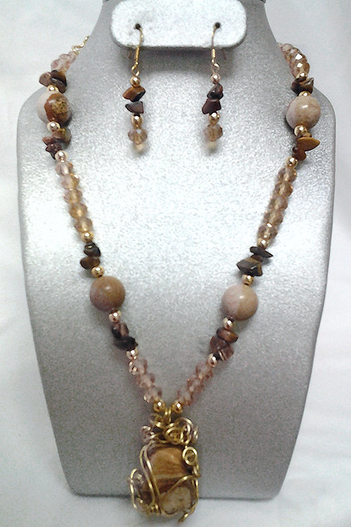 Tiger Eye Necklace & Earring Set 18""