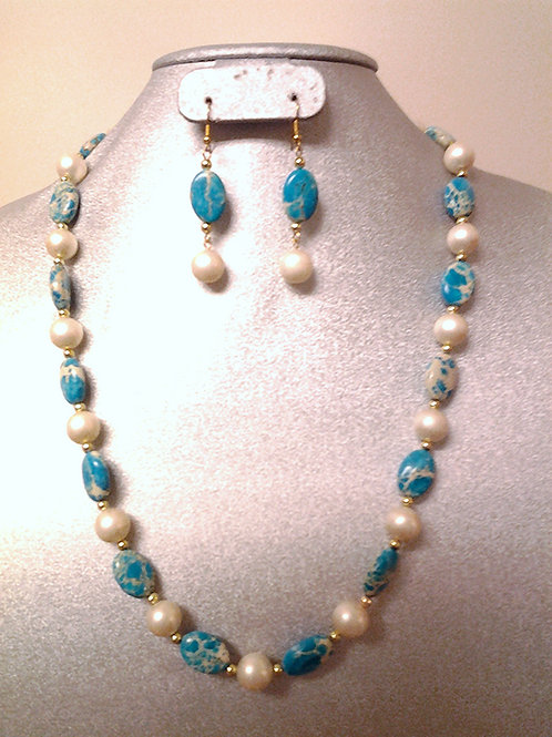 Variscite Sea Sediment & Pearl Necklace Set 24""