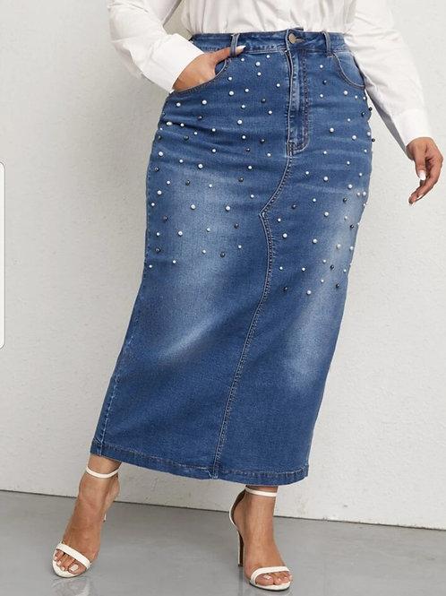 Pearl Beaded Denim Skirt