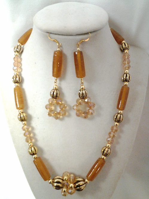 Coral & Glass Bead Necklace Set 20""