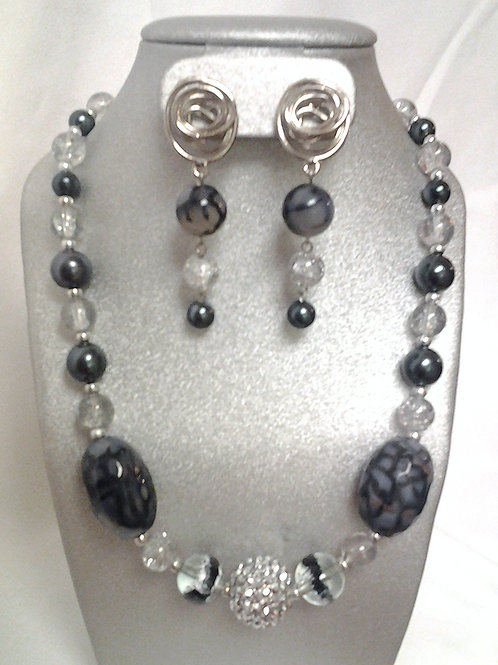 Black & White Dragon Vein Agate Necklace Set 18""
