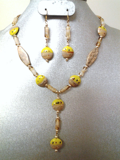 """Jasper and Glass Beaded Necklace & Earring Set 18"""""""