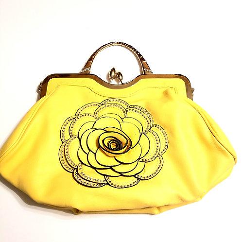 Flowered Clutch Handbag with Shoulder Strap