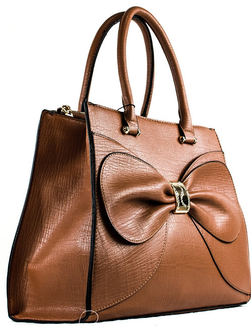 Ribbon Centered  Top Handle Tote Bag