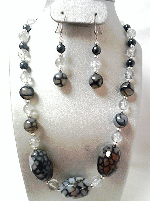 Black Dragonvein Agate Necklace & Earring Set 18""