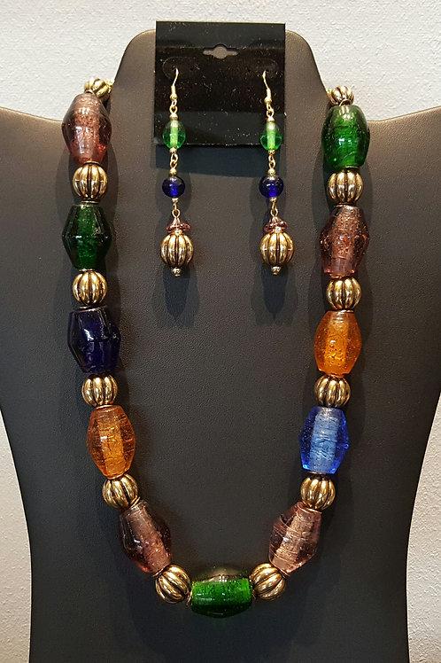 Multi Colored Murano Glass Necklace Set