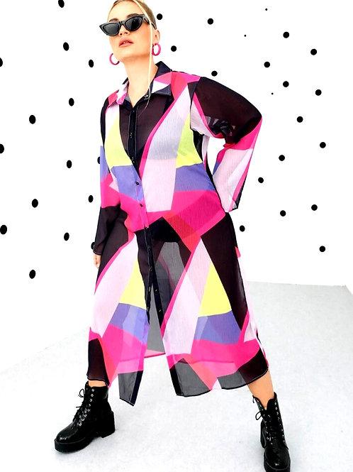 Plus Color Block Button Front Sheer Shirt Dress