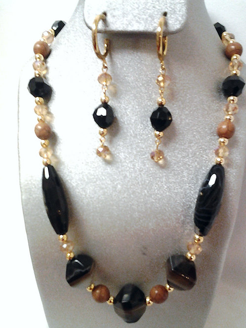 Black Agate Necklace & Earring Set 19""