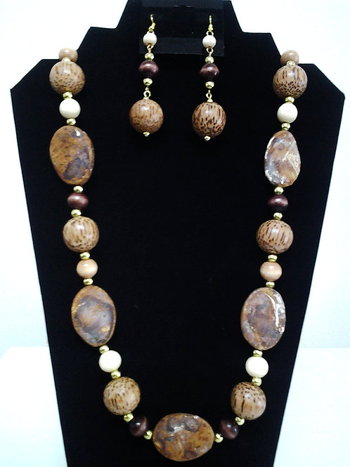 Oval Jasper & Palm Wood Beaded Necklace Set 26""