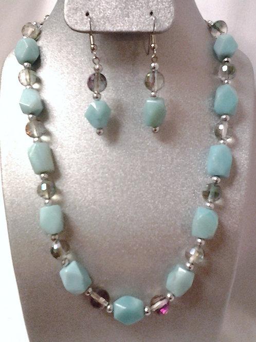 "Aqua Blue Amazonite & Glass Bead Necklace Set 15"""