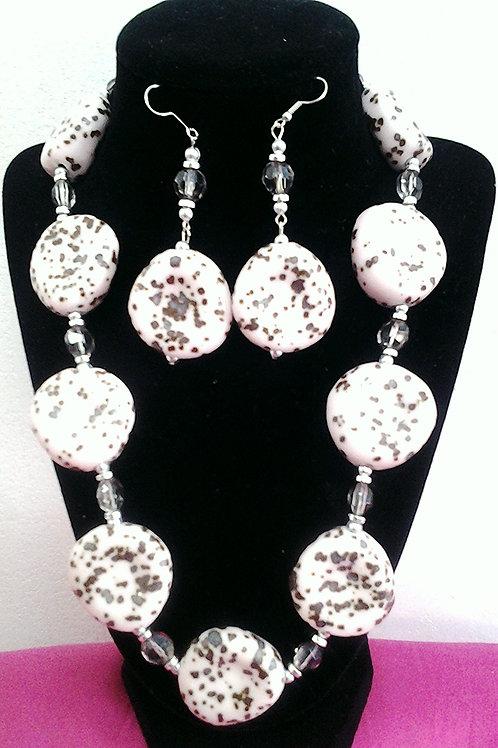 """Pink Dalmatian & Ceramic Bead Necklace Set 19"""""""