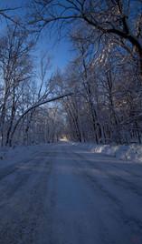 Winter Lit Road