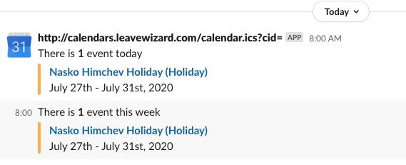 LeaveWizard Slack Integration