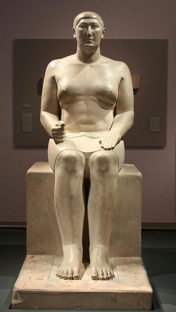 Statue of the Vizier Hemiunu (Fourth Dynasty) from Giza; now housed in the Roemer- und Pelizaeus-Museum, Hildesheim, Germany. (Photo courtesy of Einsamer Schütze.)