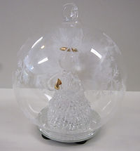 angel in glass globe christmas led colour changing