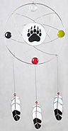 dream catcher with bear paw stained glass