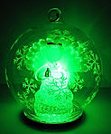 green colour changing angel in glass globe christmas design