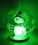 LED colour changing snowman in glass globe