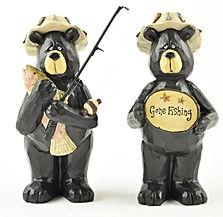 pair of fishing bears in resin