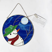 rick beaver snow man's joy suncatcher stained glass first nations