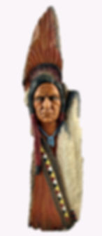 native indian warrior with eagle feathers hand carved on wood