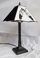 four directions eagle feather stained glass table lamp
