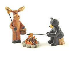 moose roasting marshmallows with bear