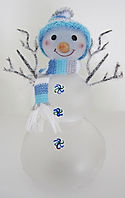 blue snowman with scarf