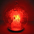 red colour changing angel in glass globe christmas design