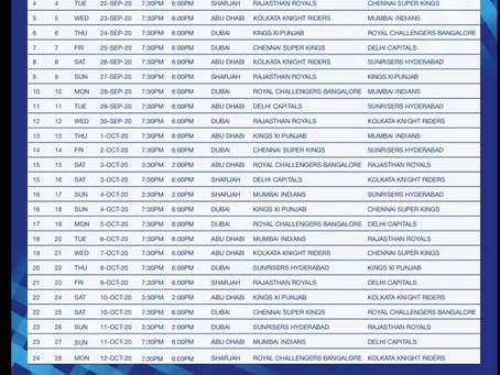 IPL Schedule is finally Out Now!!  Check it Out Here