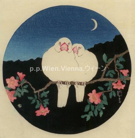 """""""Weißes Vogelpärchen auf einem Blütenzweig (Nacht)"""""""