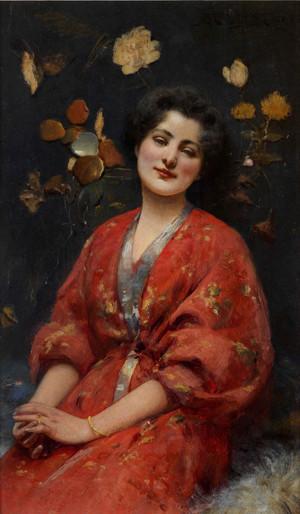 Dame in japanischem Kostüm