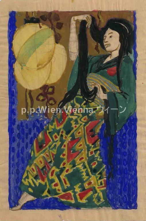 Schreitende in grünem Kimono