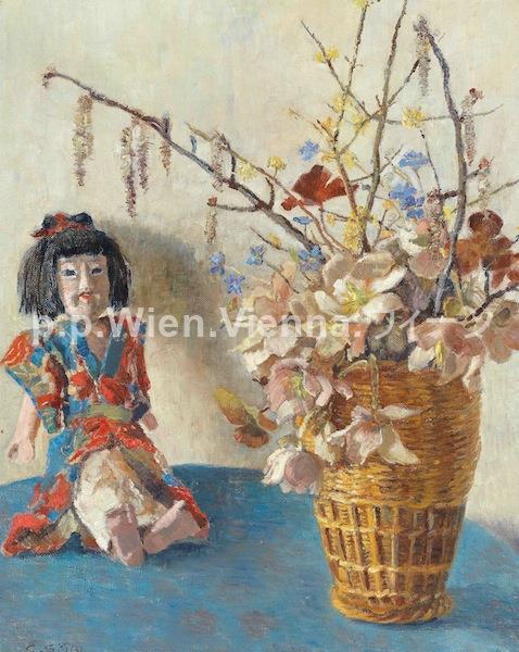 Japanische Puppe mit Frühlingsstrauß