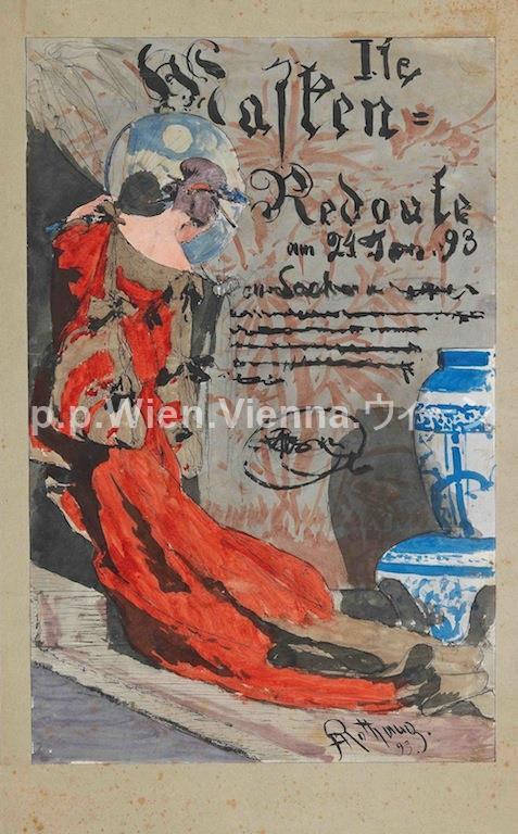 Plakatentwurf für die 1. Maskenredoute am 24. Jänner 1893
