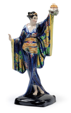 Stehende Japanerin mit Lampion