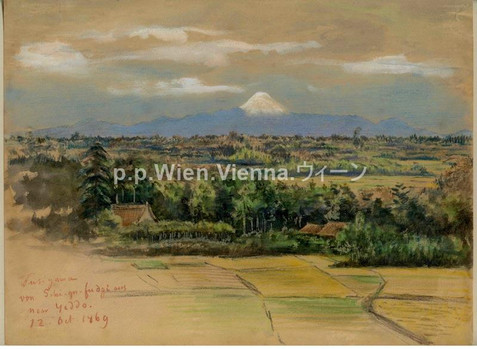 """Blick von Shigafuji auf den Fuji"""