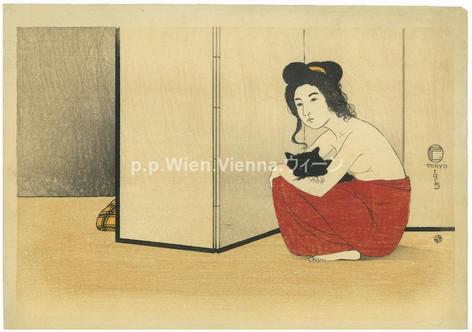 """""""Junge Frau mit schwarzer Katze"""""""
