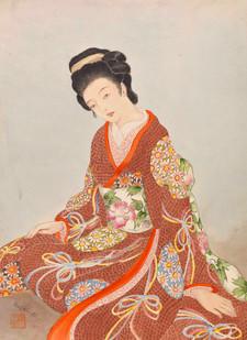 Sitzende Frau in rotem Kimono