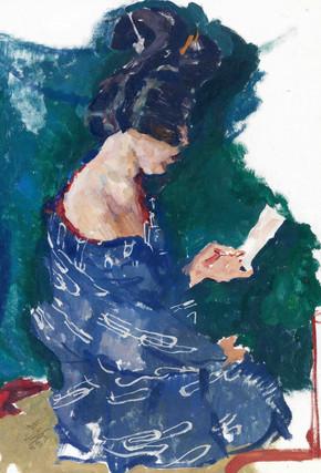 Lesende Geisha