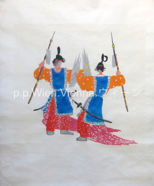 Bugaku [舞楽], Zwei Tänzer mit Lanze