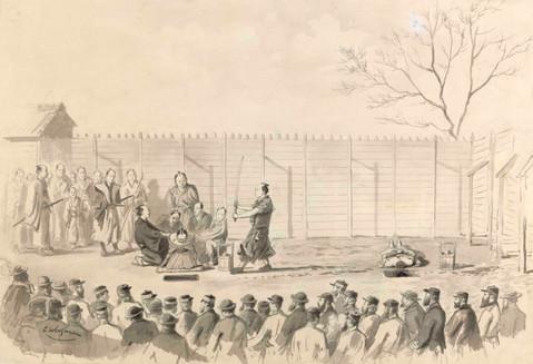 Hinrichtung der zwei Samurai Kamachi Genpachi und Inaba Chōjirō