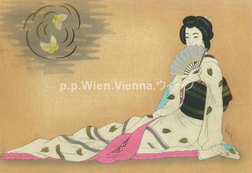 Geisha mit Fächer