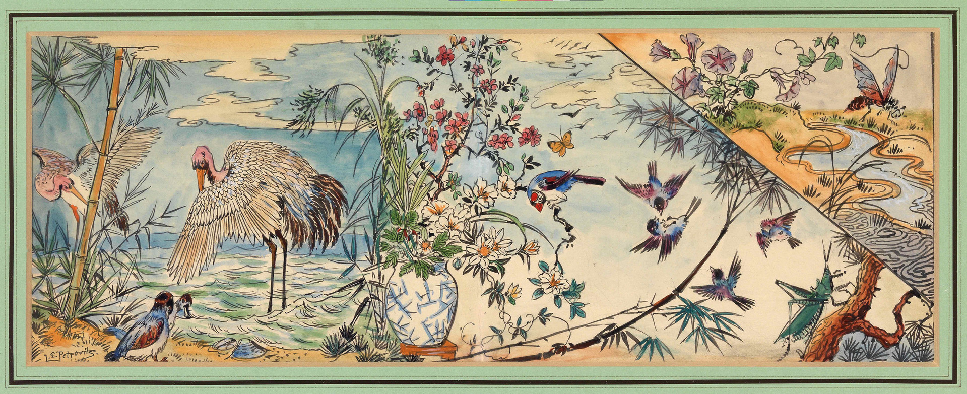 Komposition von Pflanzen, Vögeln und Insekten