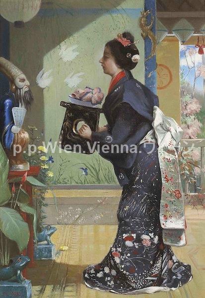 Junge Frau als Japanerin
